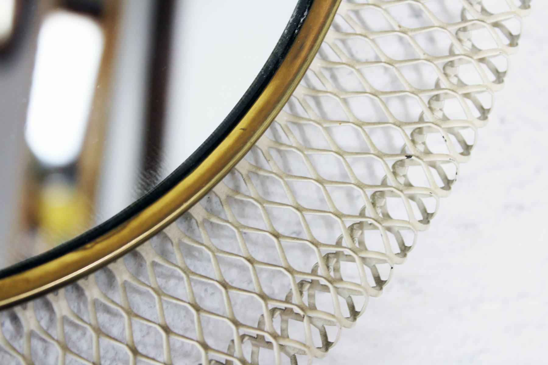 mid century spiegel mit gelfochtenem metallrahmen bei. Black Bedroom Furniture Sets. Home Design Ideas