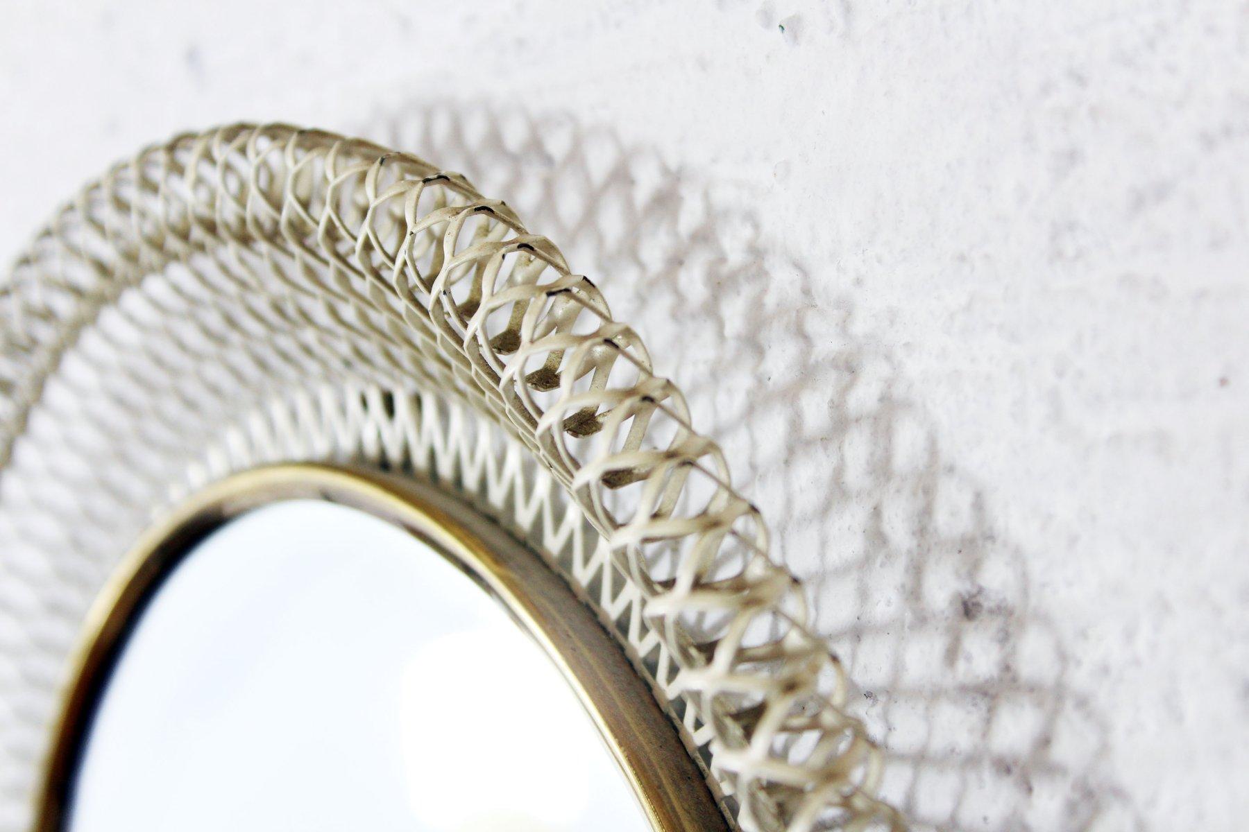 mid century spiegel mit gelfochtenem metallrahmen bei pamono kaufen. Black Bedroom Furniture Sets. Home Design Ideas