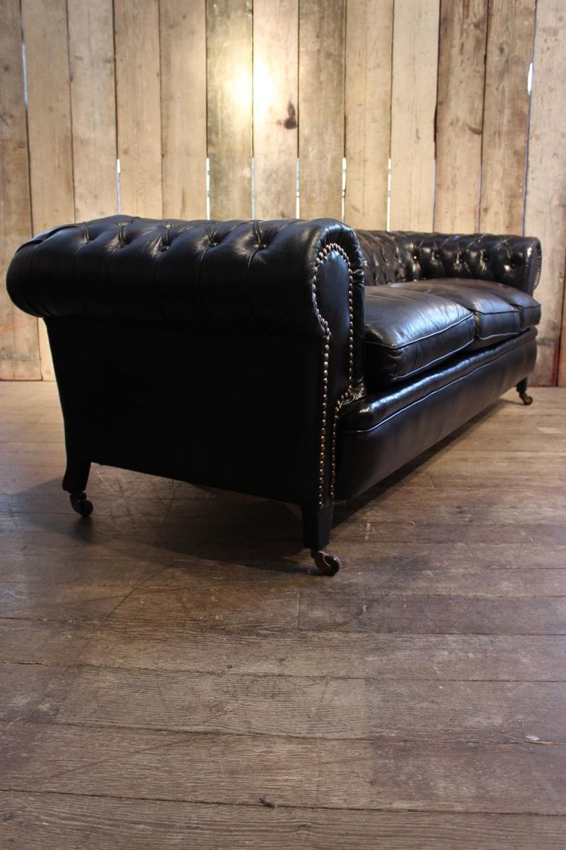 Vintage Black Leather Chesterfield Sofa for sale at Pamono