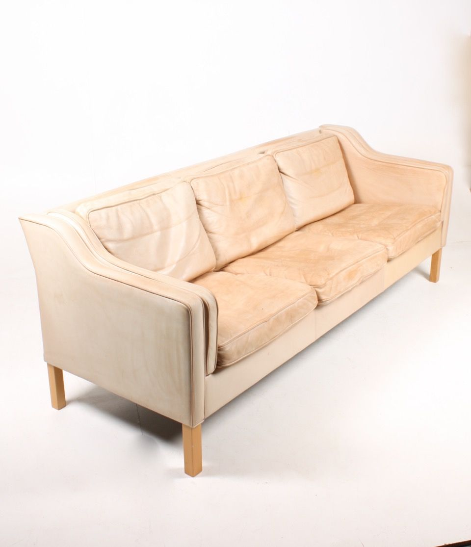 Tan leather sofa by mogens hansen 1980s for sale at pamono for Tan couches for sale