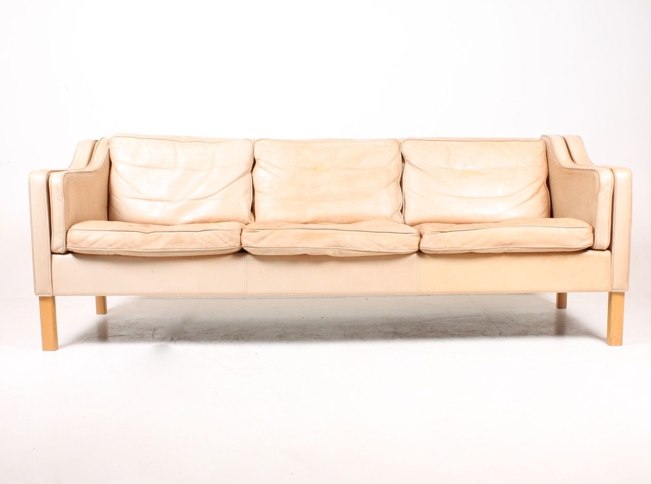 Tan Leather Sofa By Mogens Hansen 1980s For Sale At Pamono