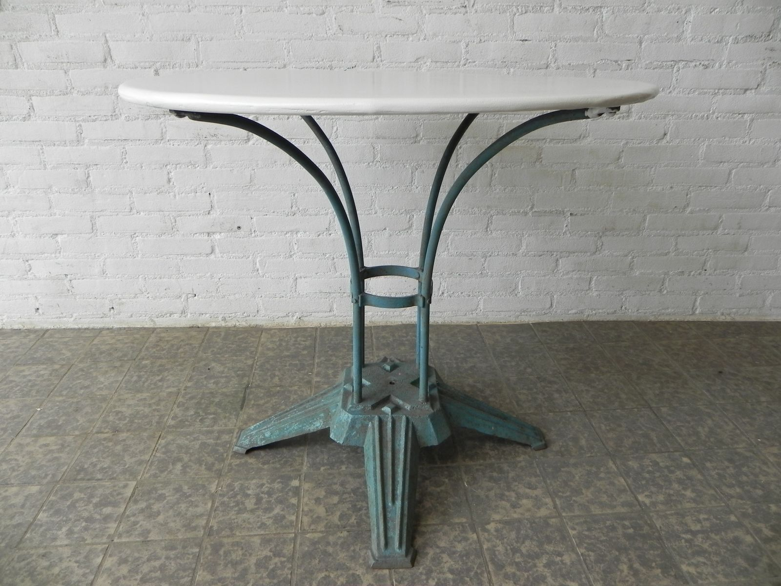 art deco french steel garden table with cast iron foot 5