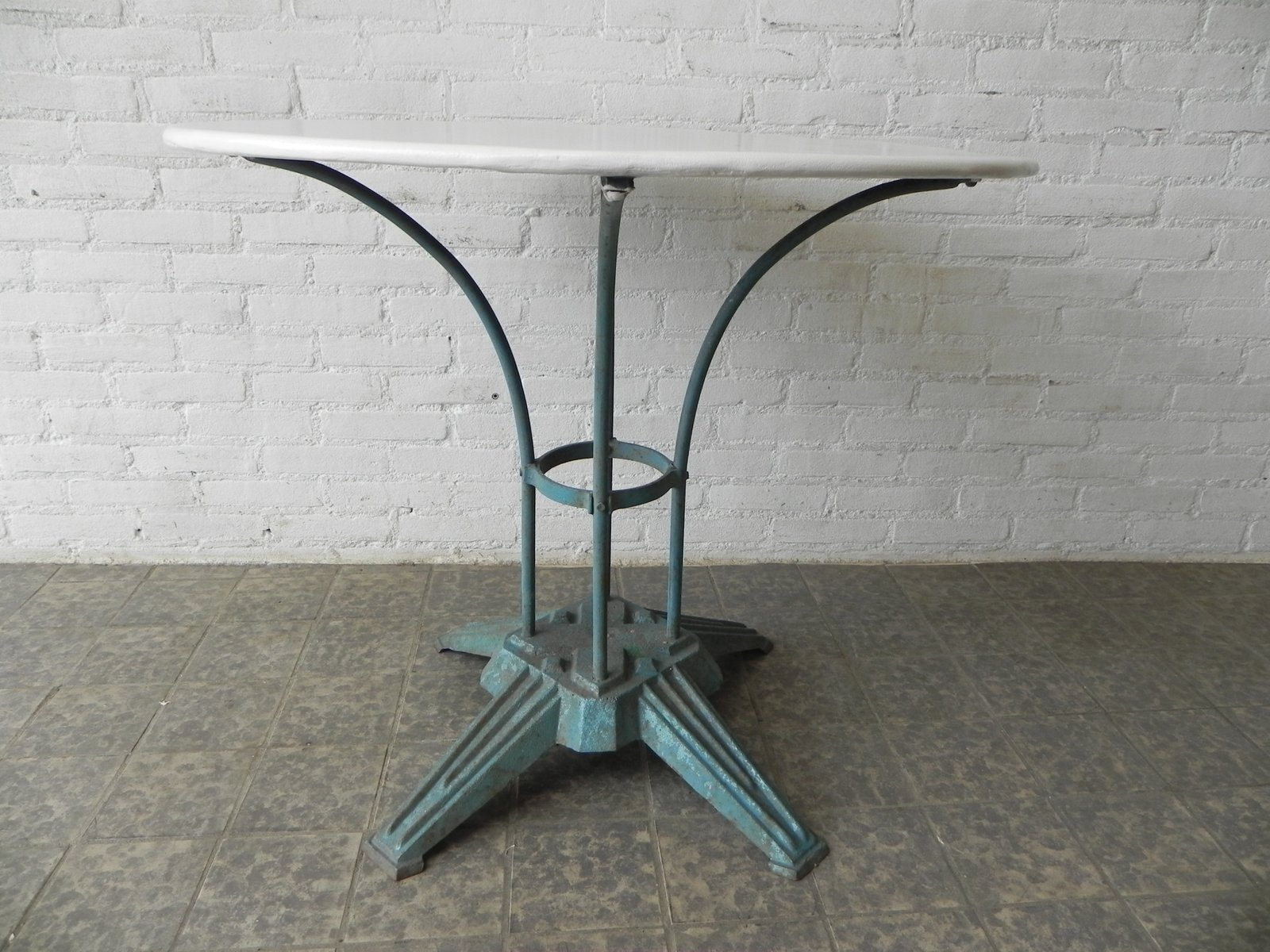 art deco french steel garden table with cast iron foot 3