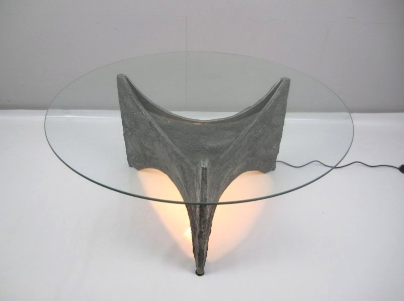 Vintage Illuminated Brutalist Coffee Table For Sale At Pamono
