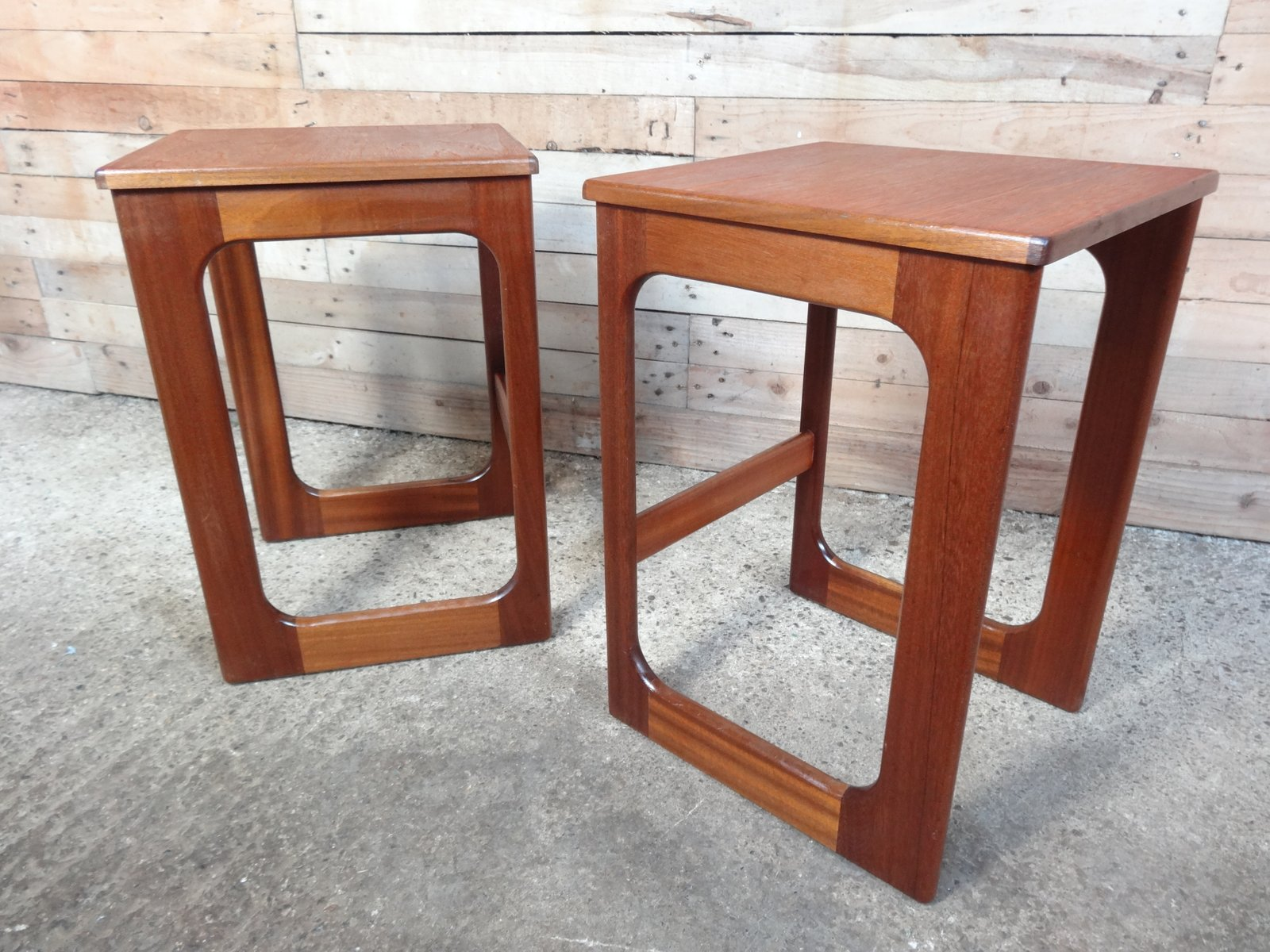 tall teak side tables s set of  for sale at pamono - tall teak side tables s set of