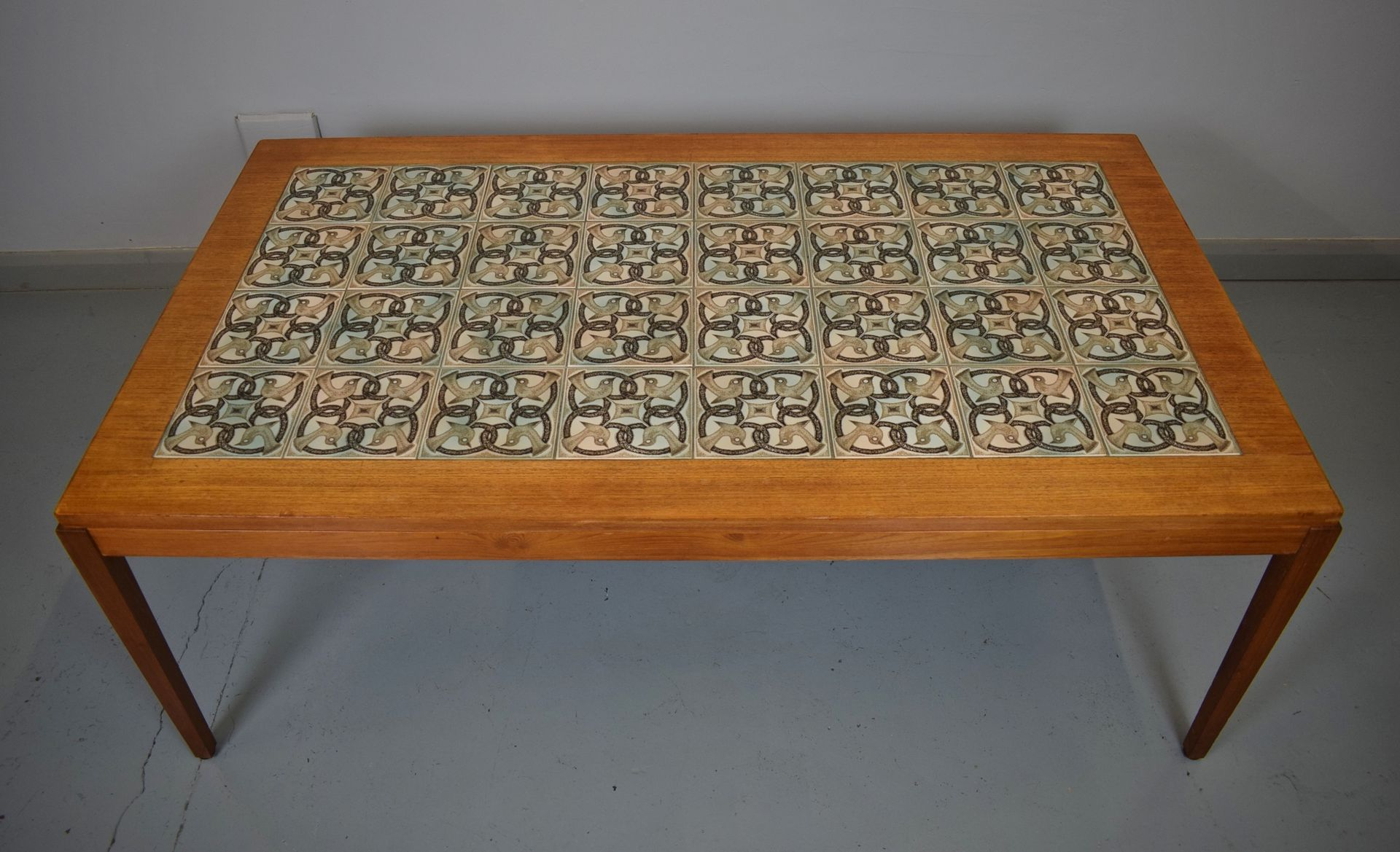 Mid Century Danish Teak Tile Top Coffee Table from Haslev for sale