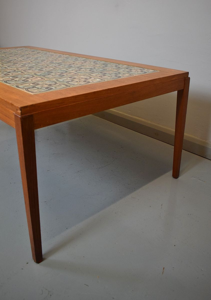 Mid Century Danish Teak Tile Top Coffee Table From Haslev