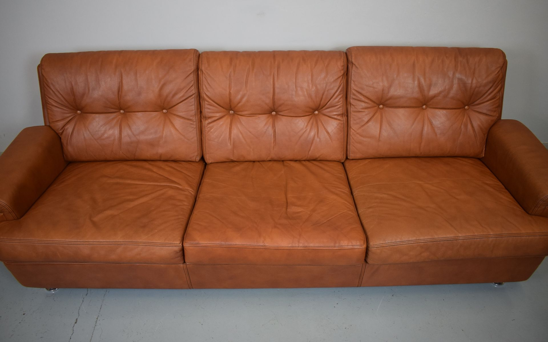 Danish tan brown leather three seater sofa 1970s for sale for Tan couches for sale