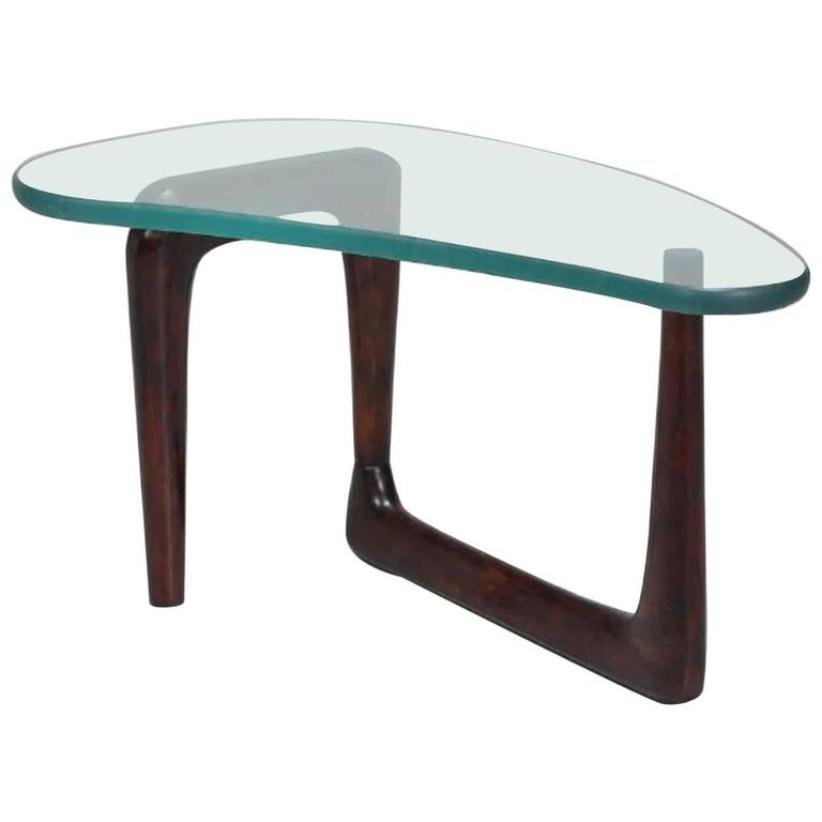 Italian Coffee Table With Thick Glass Top 1950s For Sale At Pamono