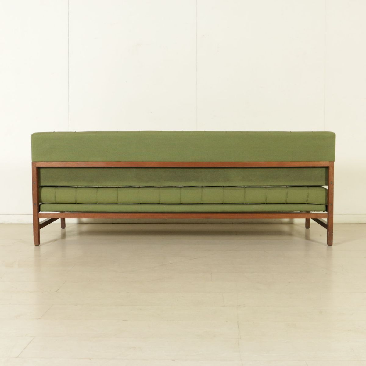 Vintage Italian Sofa With Pouf In Teak And Fabric 1960s