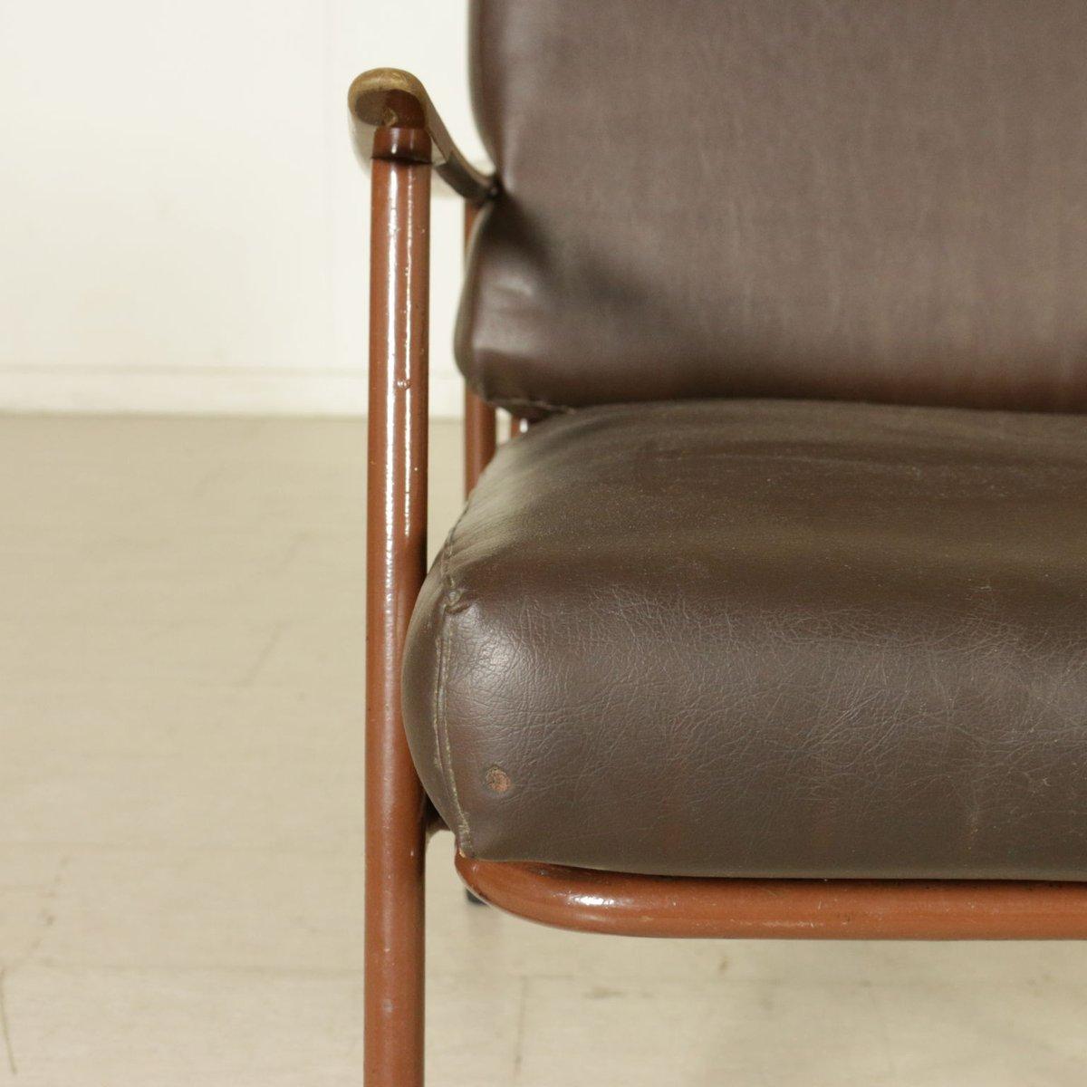 italienische vintage sessel aus metall holz kunstleder 4er set bei pamono kaufen. Black Bedroom Furniture Sets. Home Design Ideas