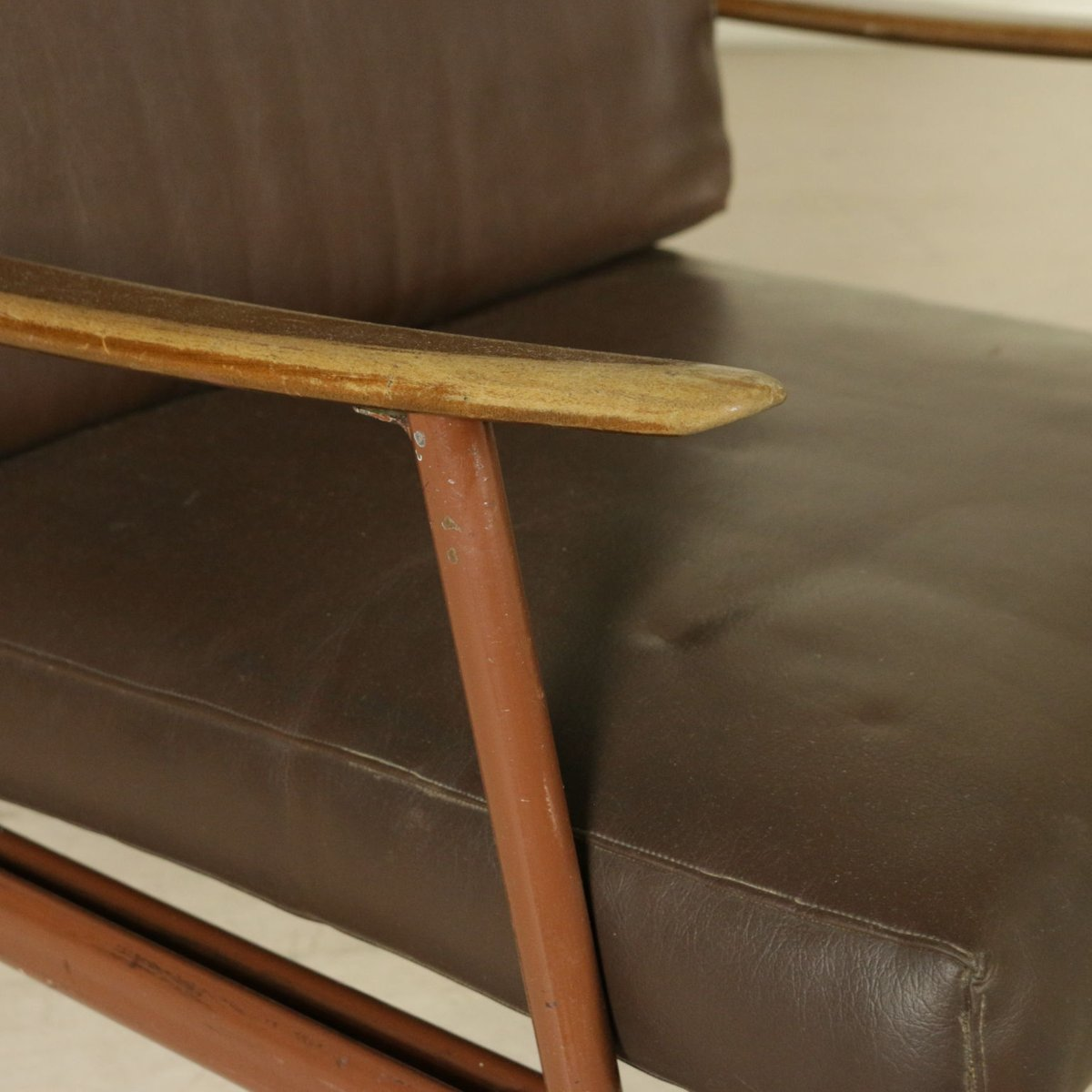 Sessel Aus Holz italienische vintage sessel aus metall holz kunstleder 4er set bei pamono kaufen