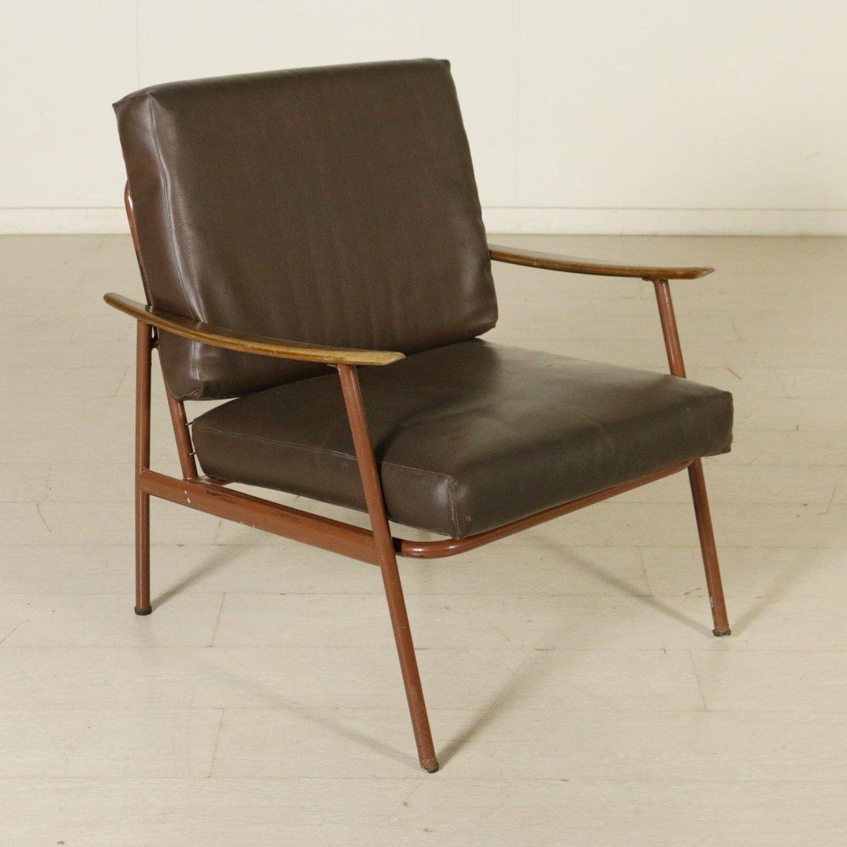 italienische vintage sessel aus metall holz kunstleder. Black Bedroom Furniture Sets. Home Design Ideas