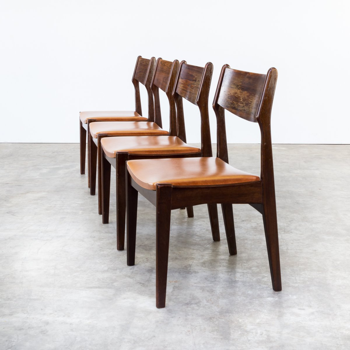 Teak Leatherette Dining Chairs 1960s Set Of 4 For Sale