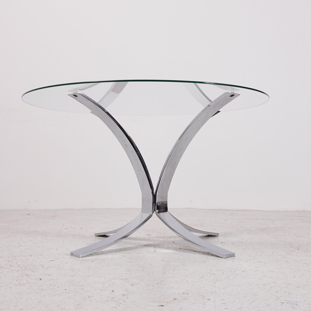 Vintage Glass Top Coffee Table with Chrome Plated Base for sale at