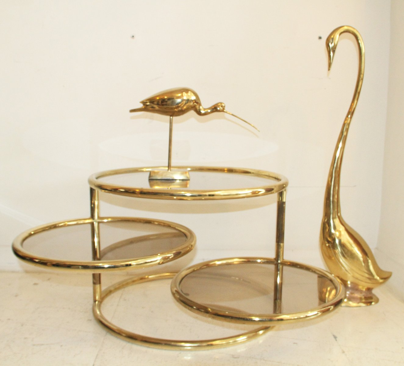 French Gold Coffee Table: Adjustable French Three-Tiered Gold Metal Coffee Table