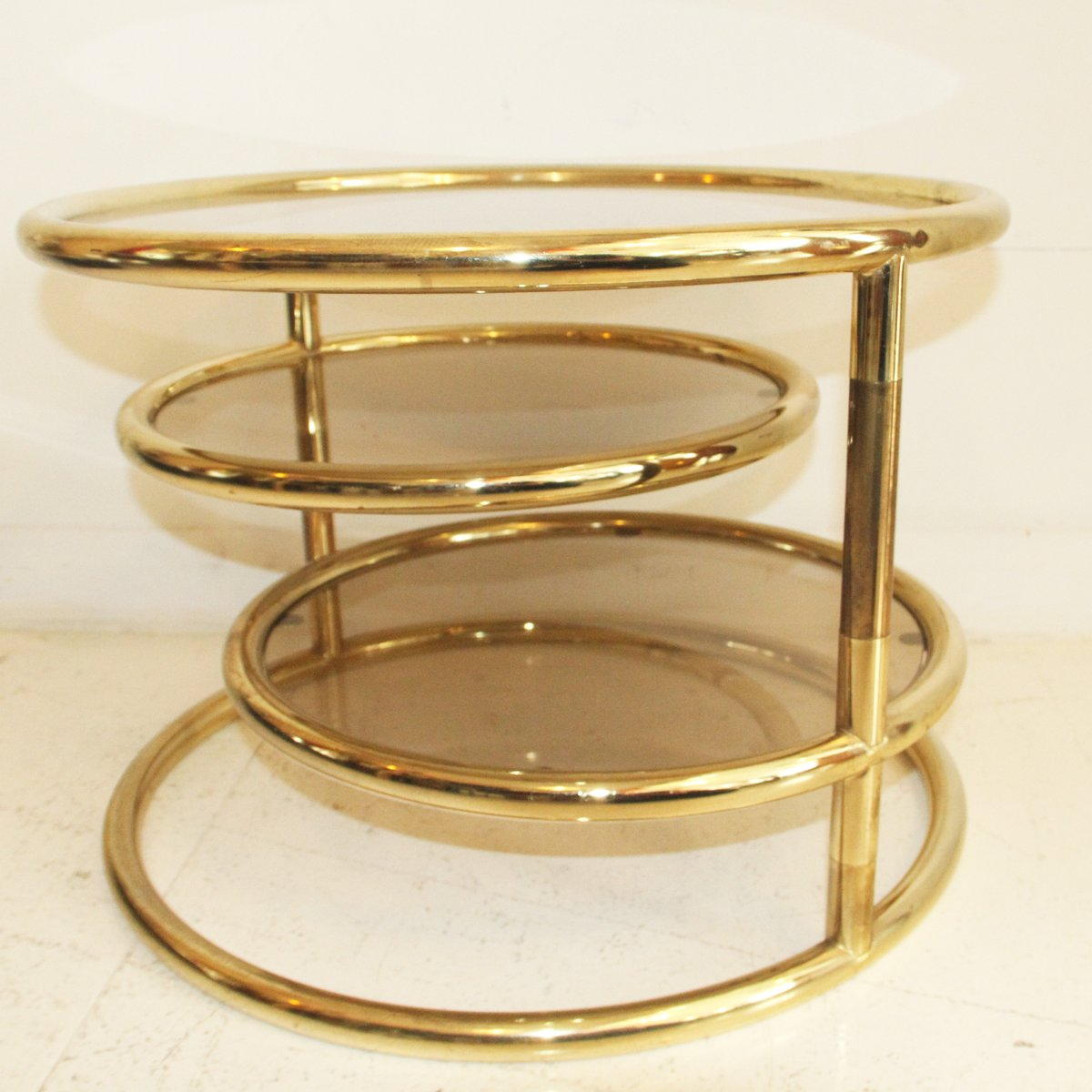 Adjustable french three tiered gold metal coffee table 1970s for sale at pamono Gold metal coffee table