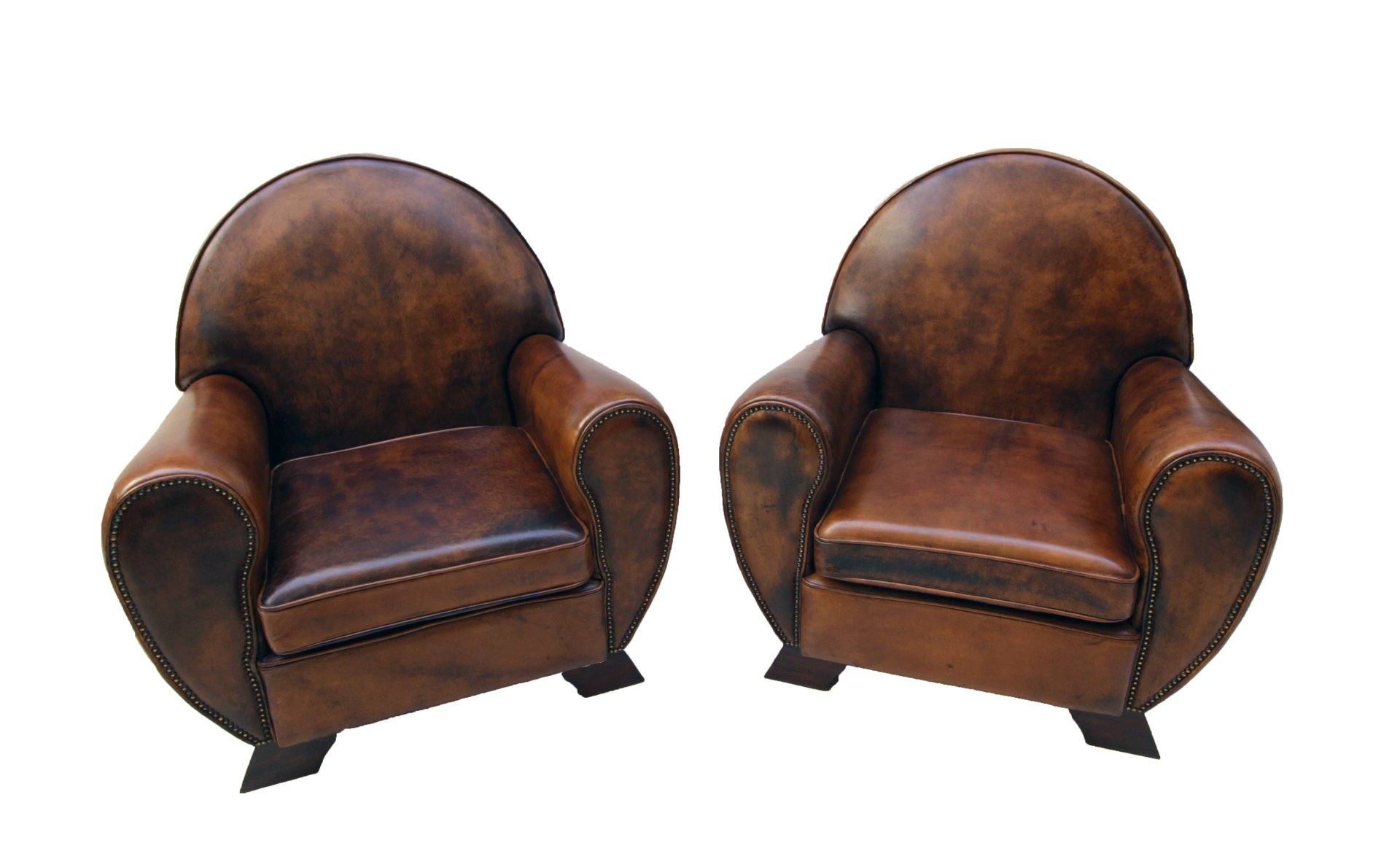 Vintage Leather Club Living Room Set Set of 3 for sale at Pamono