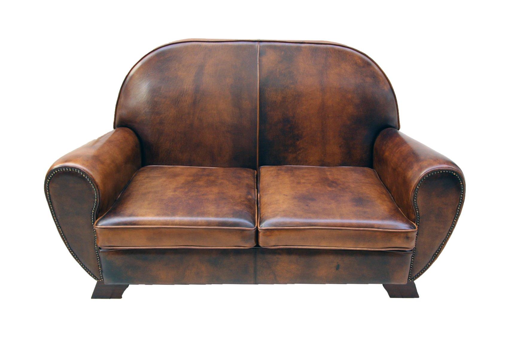 Vintage Leather Club Living Room Set Set of 3 for sale at Pamono