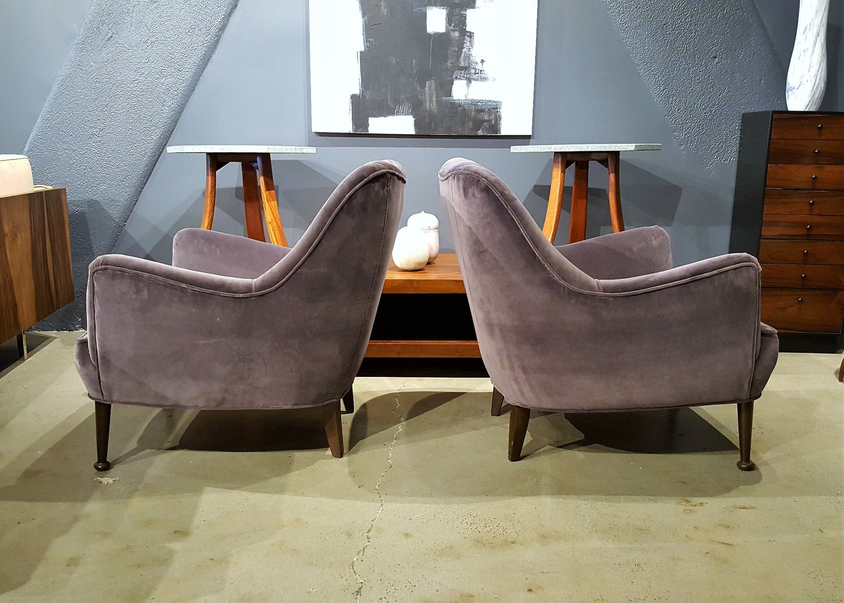 Mid Century Modern Lounge Chairs in Deep Lilac Gray Velvet Set of