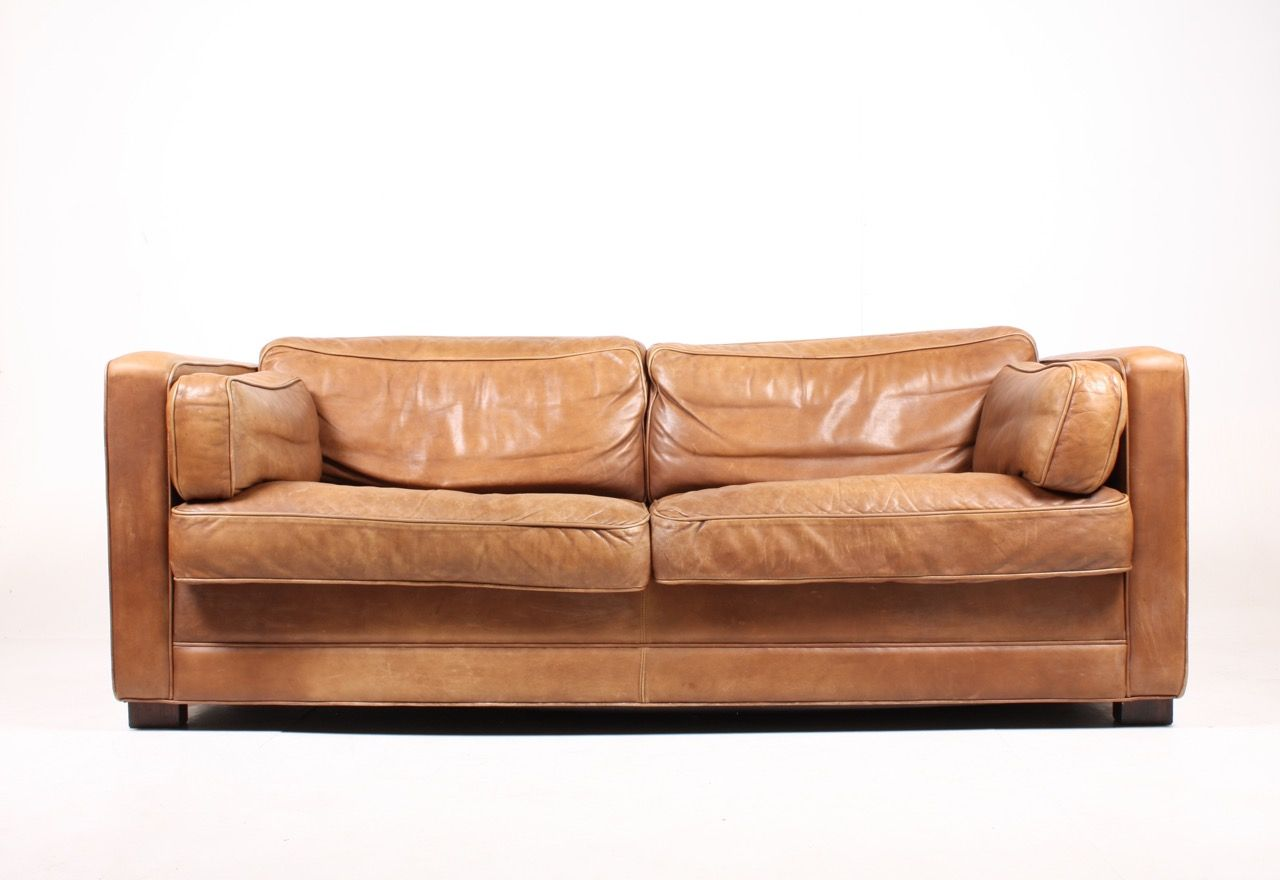 vintage danish leather sofa 1980s for sale at pamono