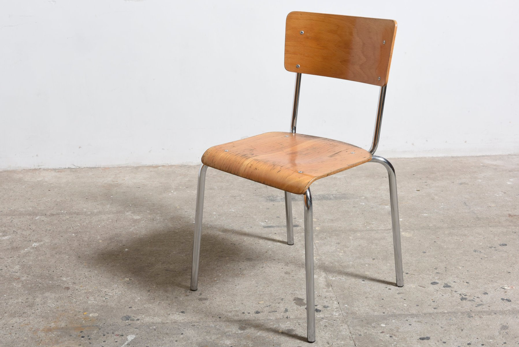Industrial Chrome Beechwood Stacking Chairs from Tubax Set of 6