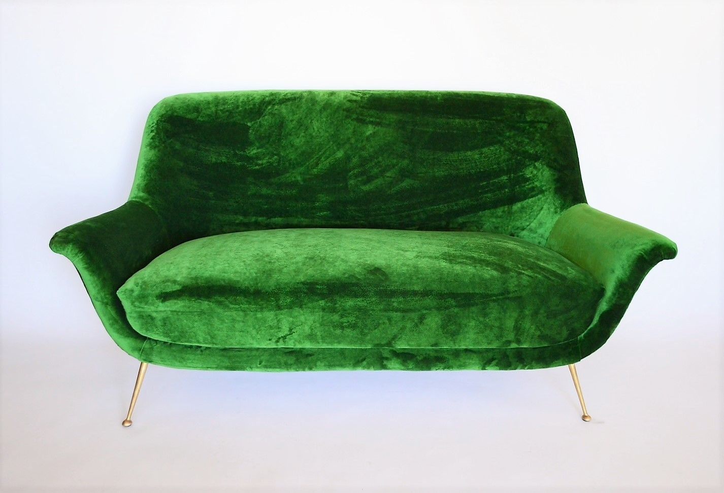 Mid Century Italian Sofa With Brass Feet 1950s For Sale