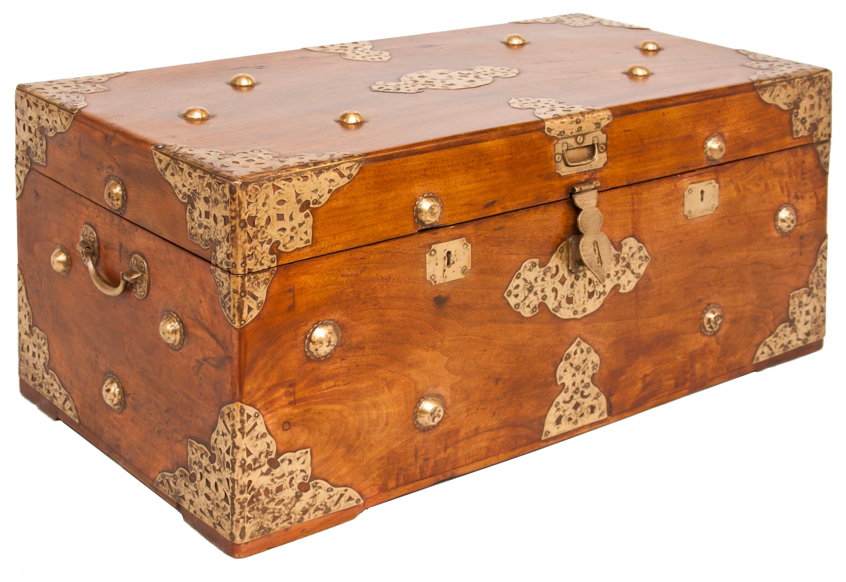 Antique camphor wood brass chest for sale at pamono
