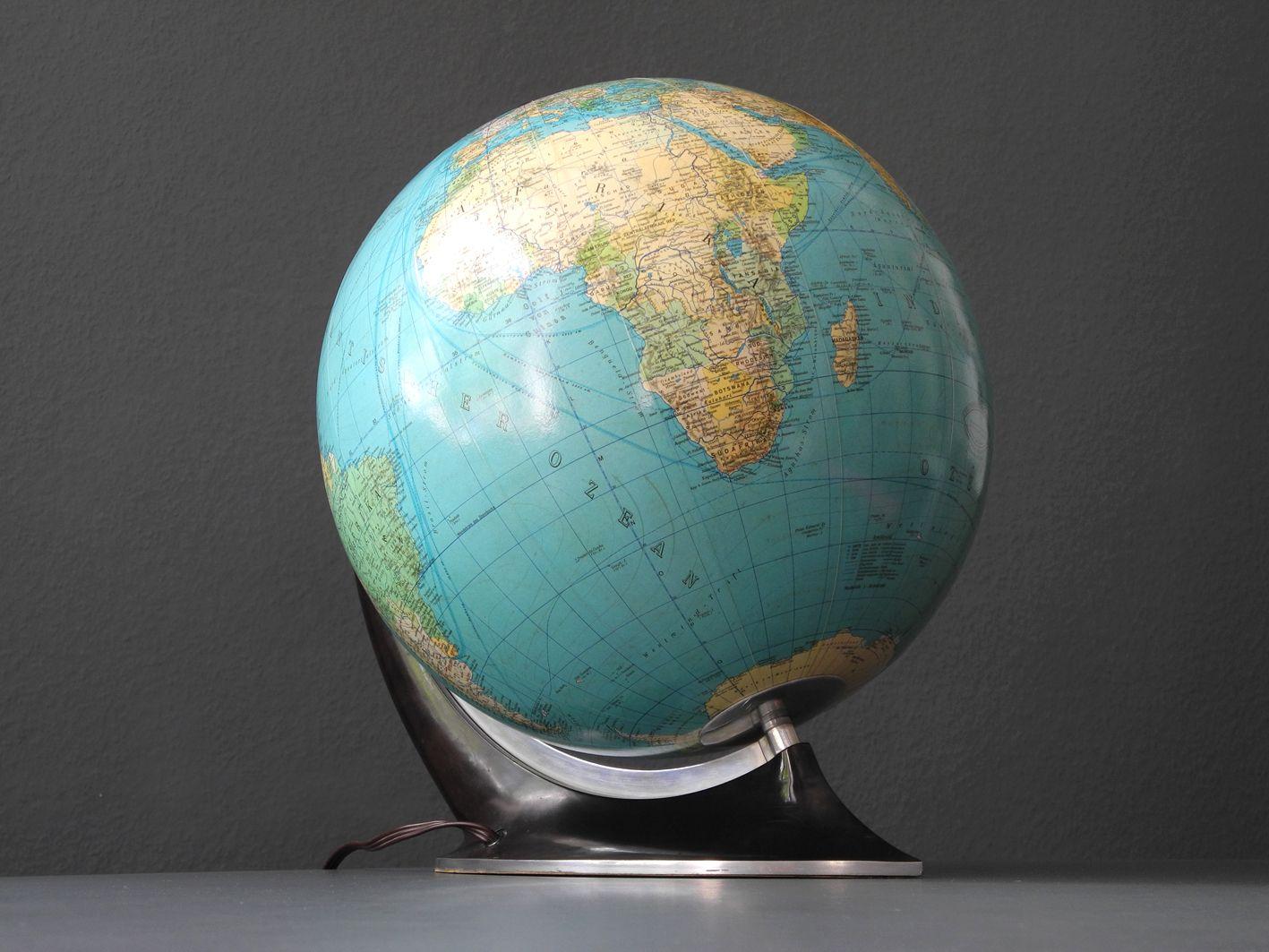 gro er beleuchteter mid century globus aus glas bei pamono. Black Bedroom Furniture Sets. Home Design Ideas