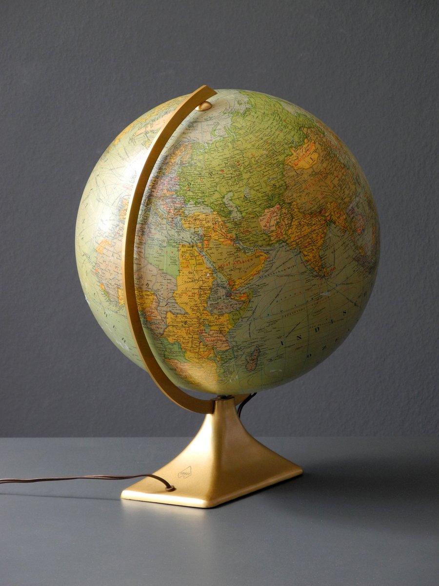 gro er beleuchteter deutscher mid century glas globus von. Black Bedroom Furniture Sets. Home Design Ideas