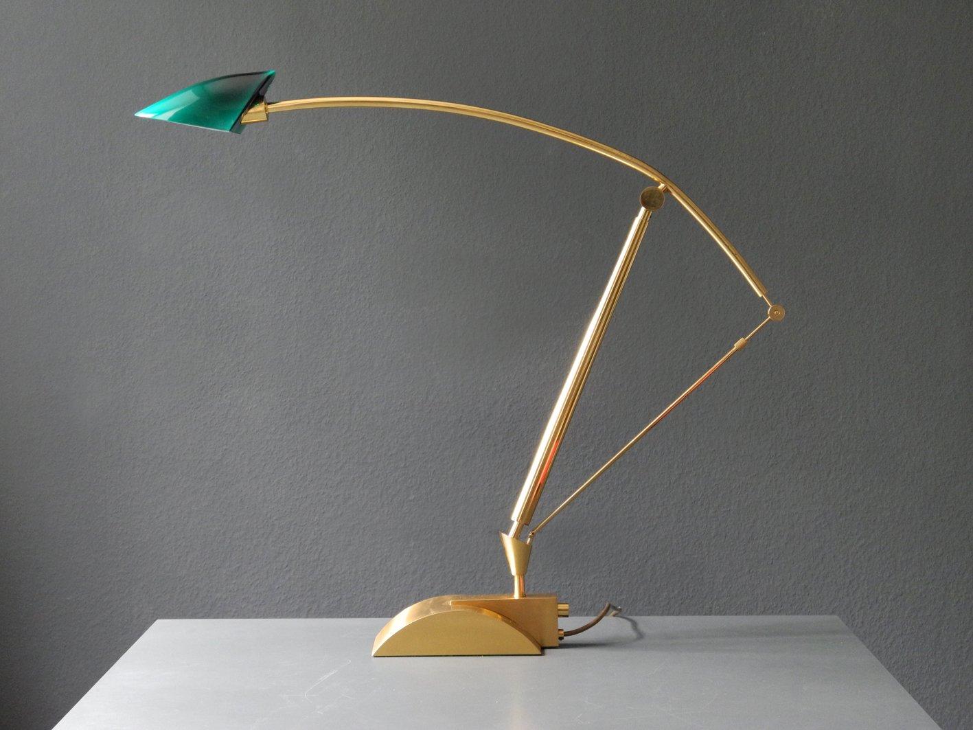 large adjustable brass halogen table lamp with green glass. Black Bedroom Furniture Sets. Home Design Ideas