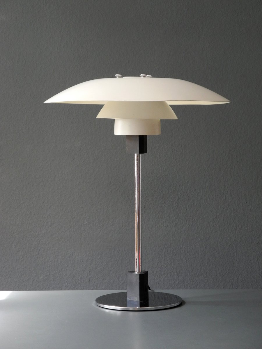 vintage danish ph 4 3 table lamp with white shade by poul. Black Bedroom Furniture Sets. Home Design Ideas