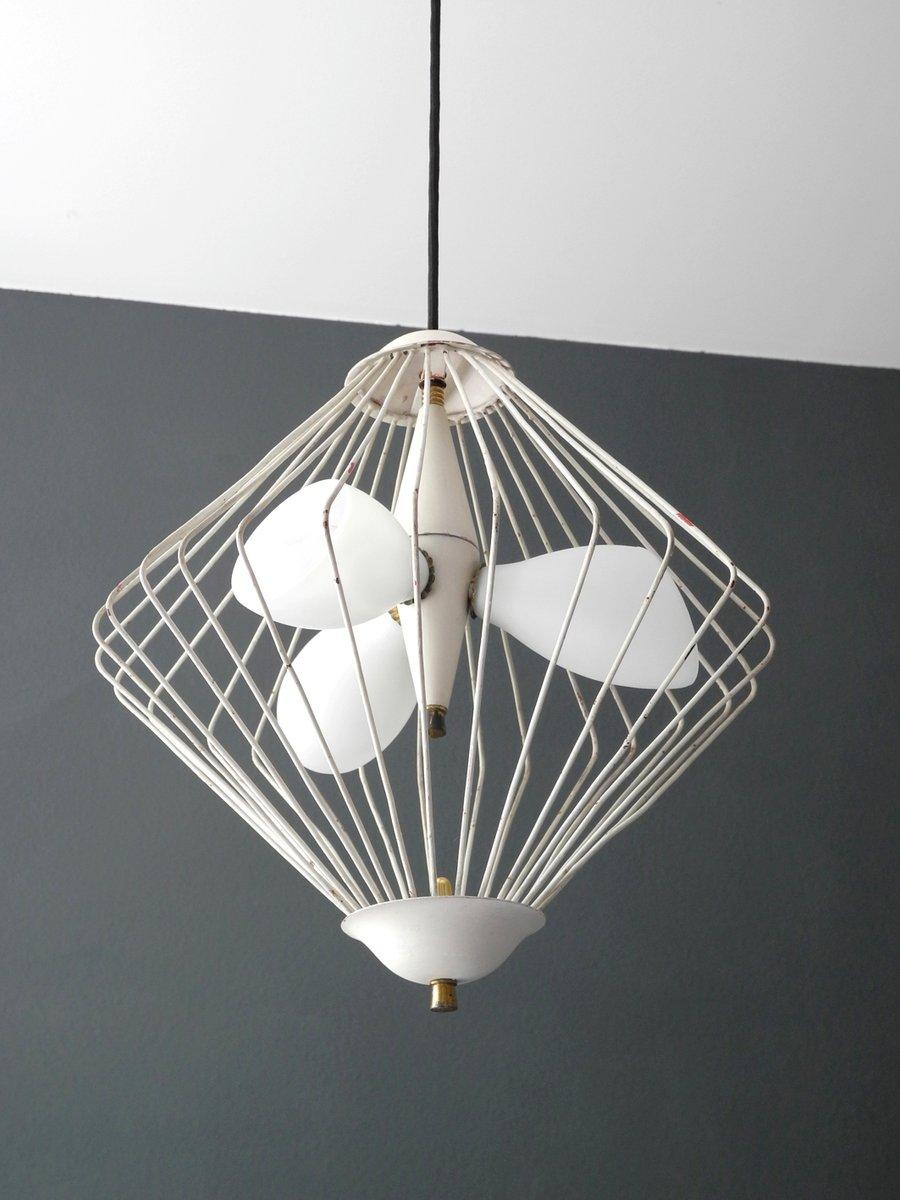 italienische mid century modern h ngelampe aus glas metallgitter bei pamono kaufen. Black Bedroom Furniture Sets. Home Design Ideas