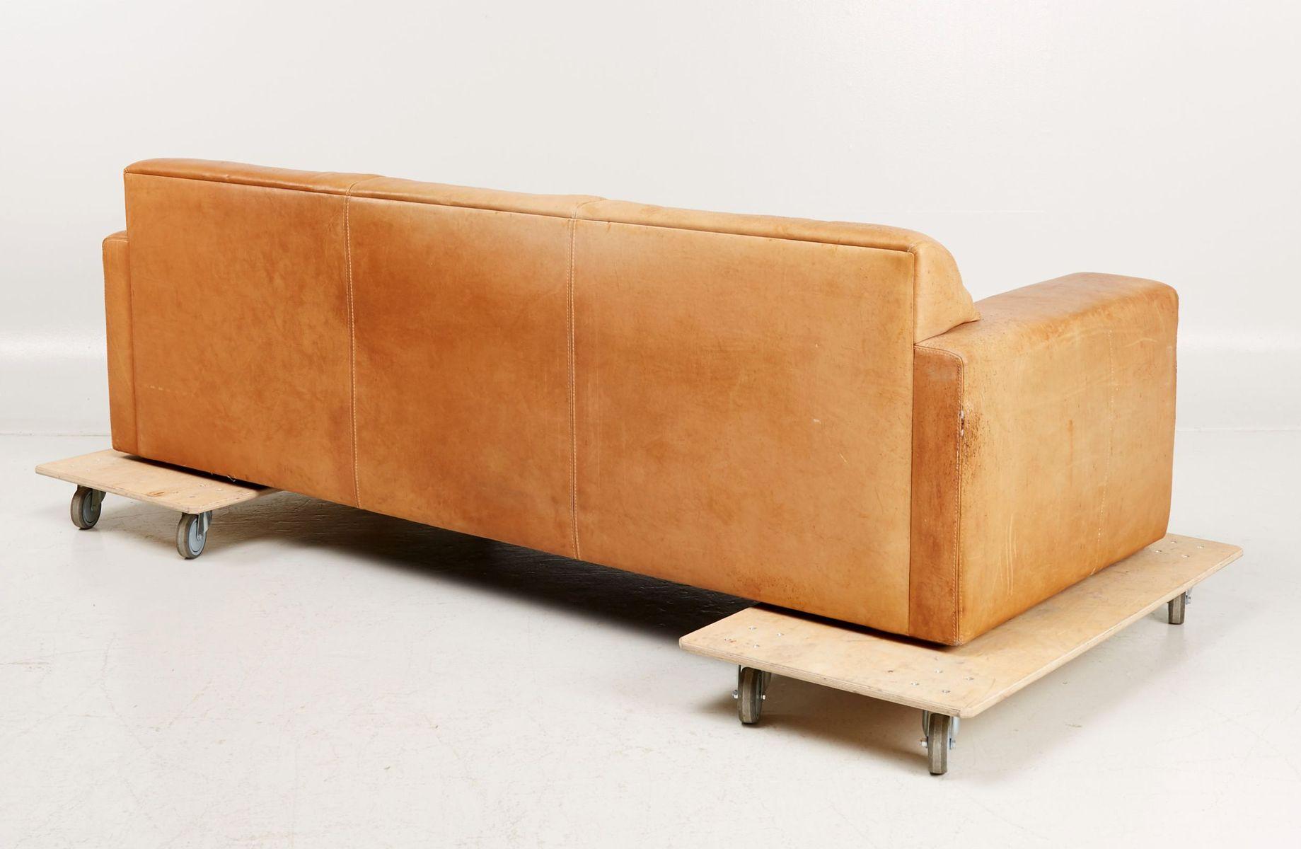 Schwedisches 3-Sitzer Sofa in Braunem Rindsleder von DUX ...