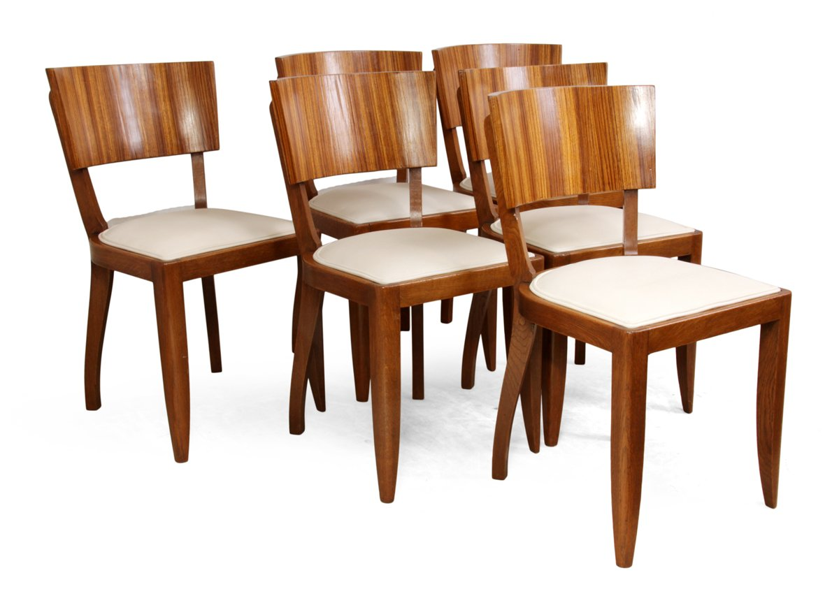 Art deco dining chairs 1930s set of 6 for sale at pamono for Set of 6 dining chairs
