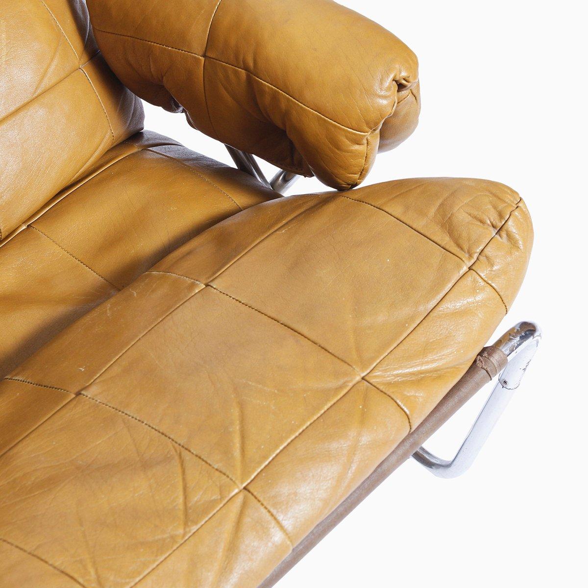 vintage sessel aus leder verchromtem stahlrohr bei. Black Bedroom Furniture Sets. Home Design Ideas