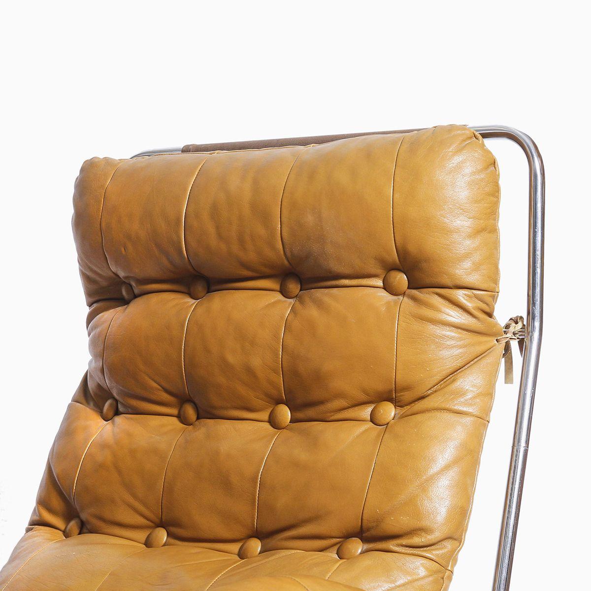 vintage sessel aus leder verchromtem stahlrohr bei pamono kaufen. Black Bedroom Furniture Sets. Home Design Ideas