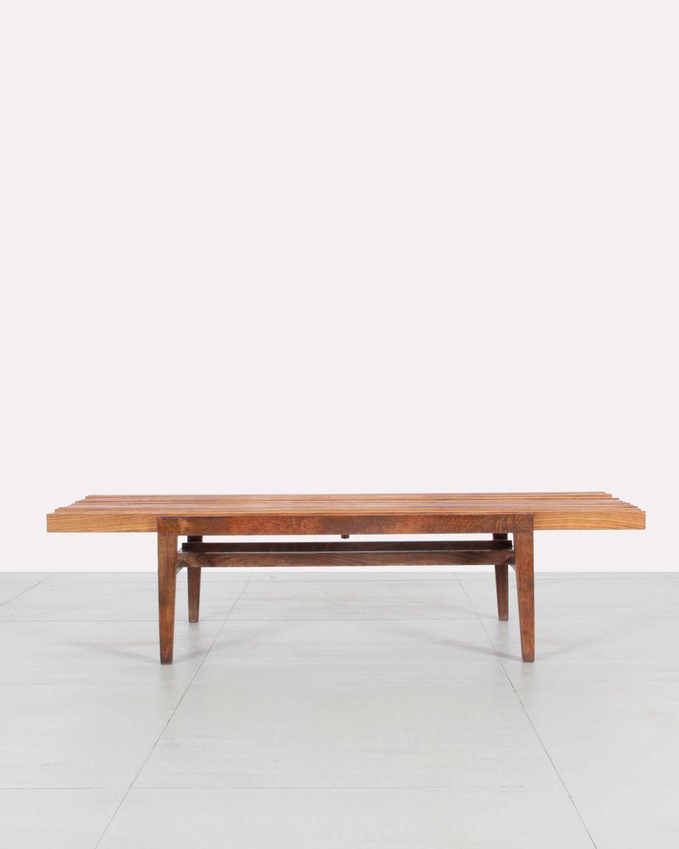 Czechoslovak Wooden Slats Coffee Table By Franti Ek Mezulanik 1960s For Sale At Pamono