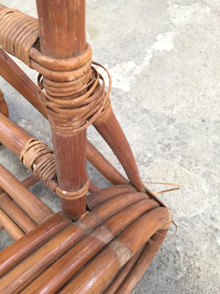 Round French Bamboo Amp Rattan Pretzel Shaped Lounge Chair