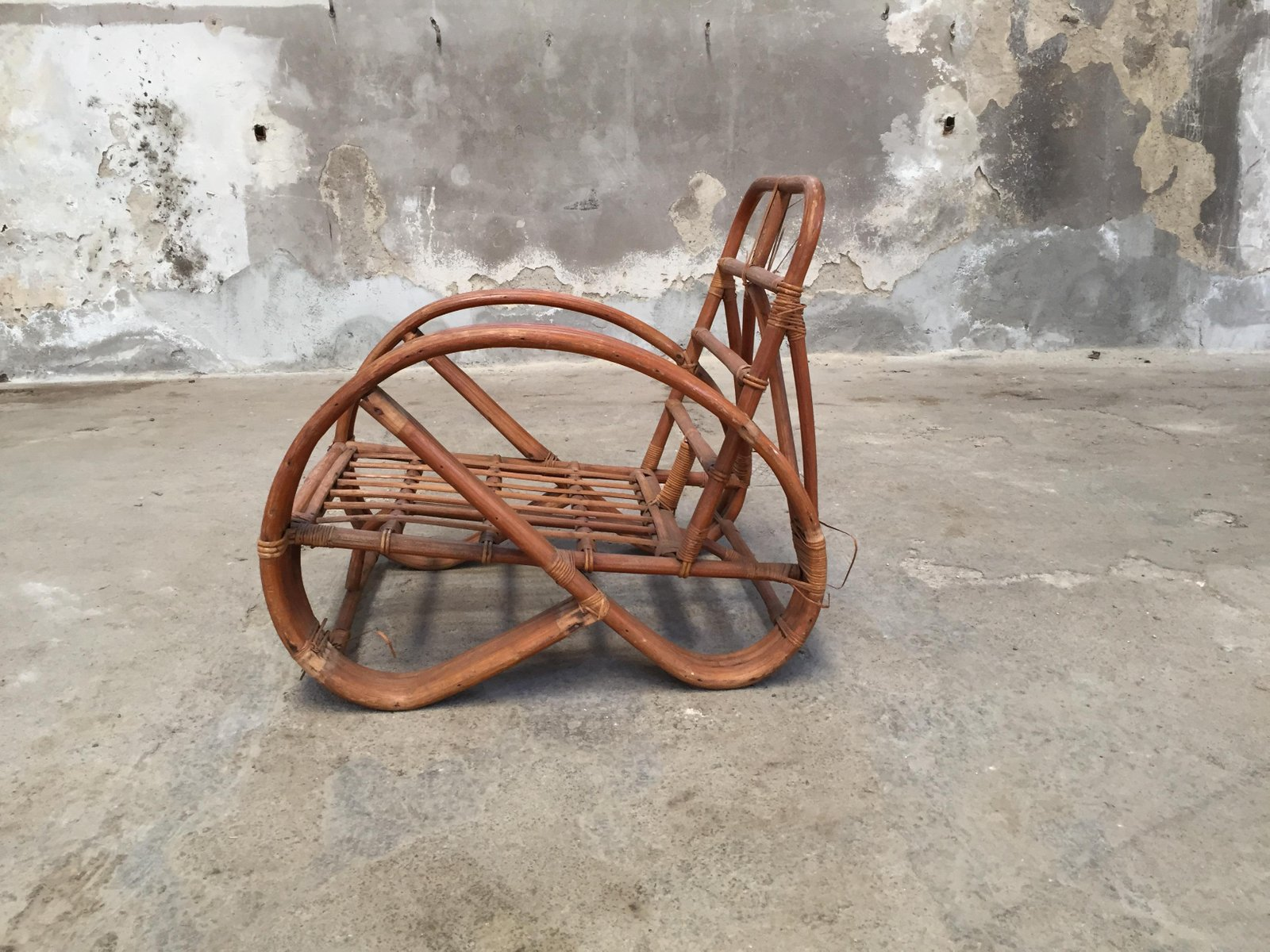 Round French Bamboo & Rattan Pretzel Shaped Lounge Chair 1950s