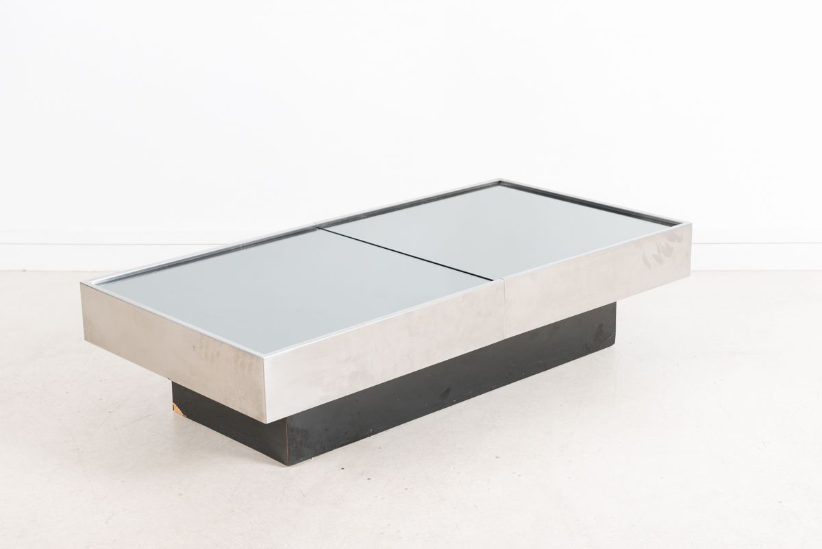 Vintage Rectangular Coffee Table With Bar By Willy Rizzo For Sale At Pamono