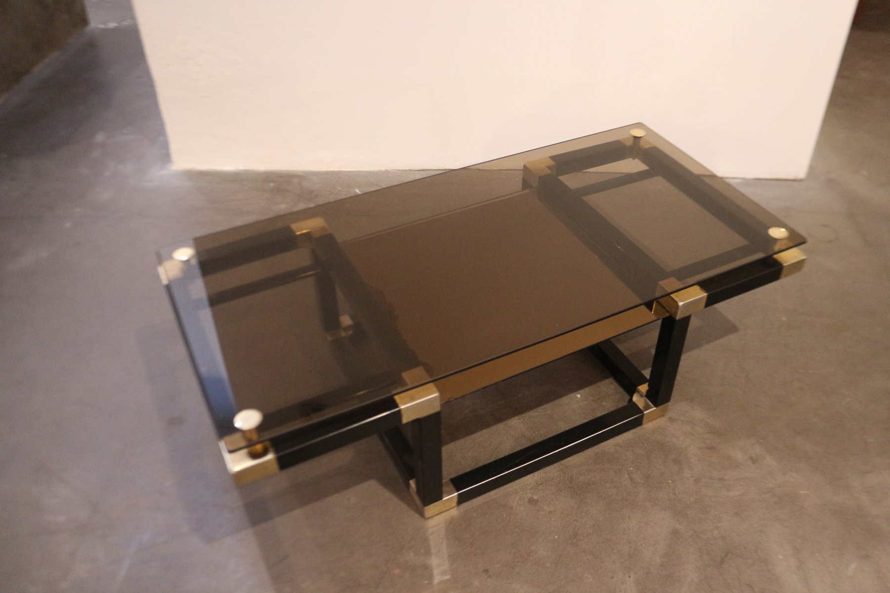 Glass & Metal Coffee Table 1980s for sale at Pamono