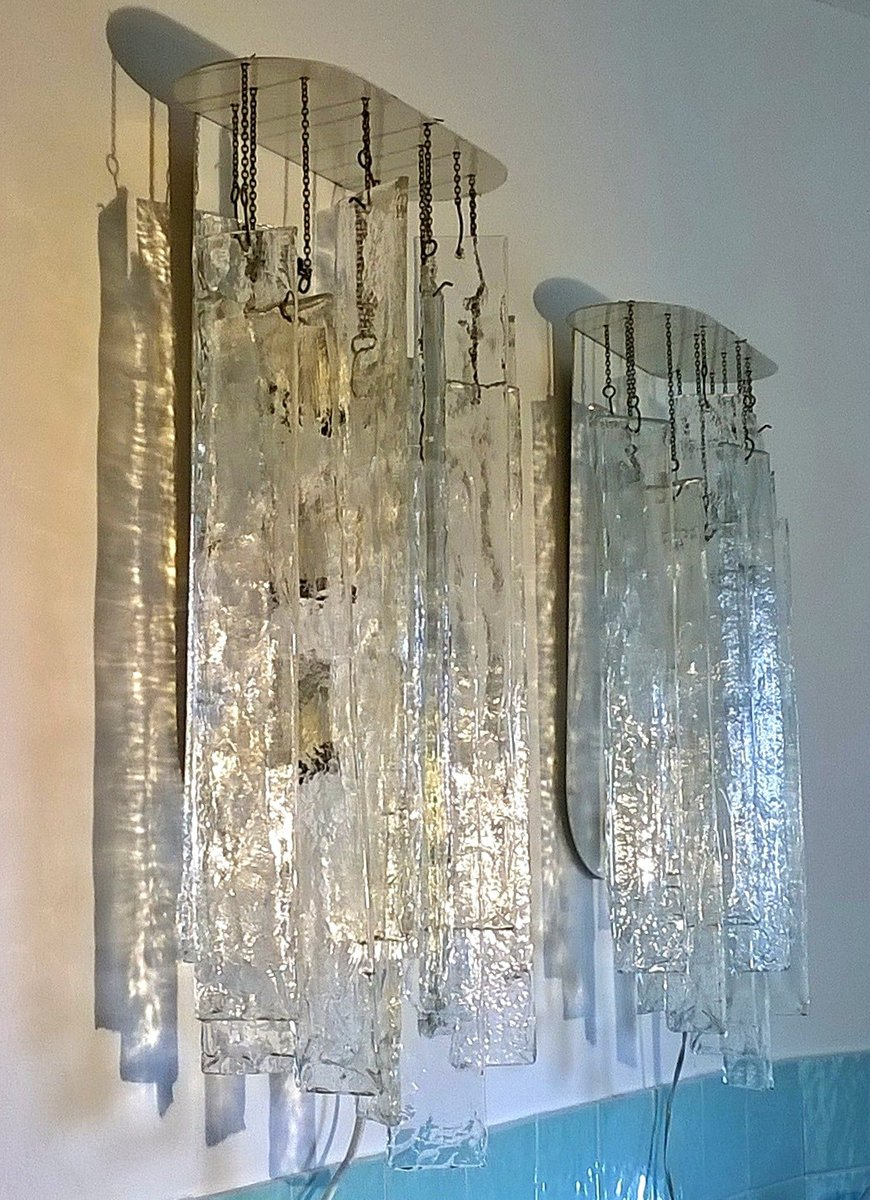 Large murano glass wall lights by carlo nason for mazzega for Large glass wall