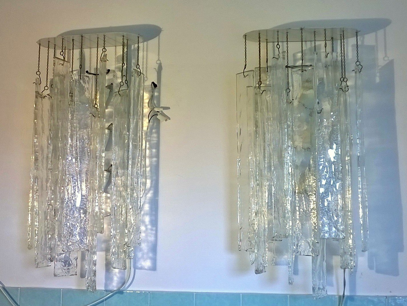 Large Glass Wall Lights : Large Murano Glass Wall Lights by Carlo Nason for Mazzega, 1970s, Set of 2 for sale at Pamono