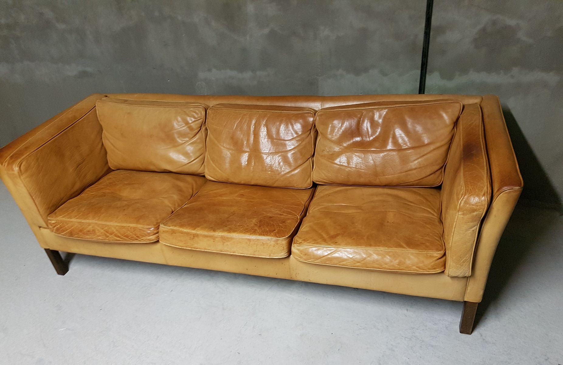 vintage danish leather sofa for stouby for sale at pamono