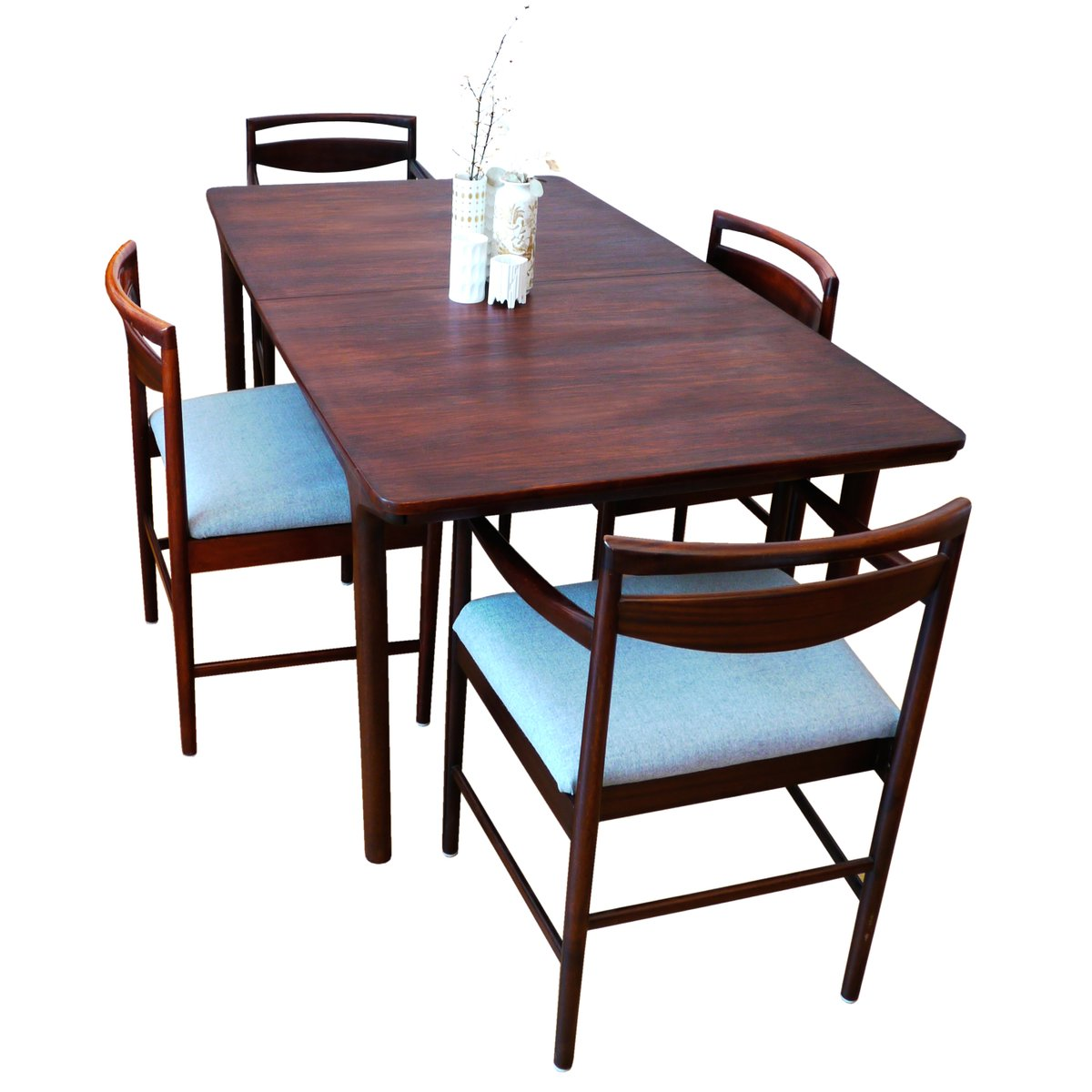 Grande table de salle manger rallonge mid century 12 for Table salle a manger 8 places