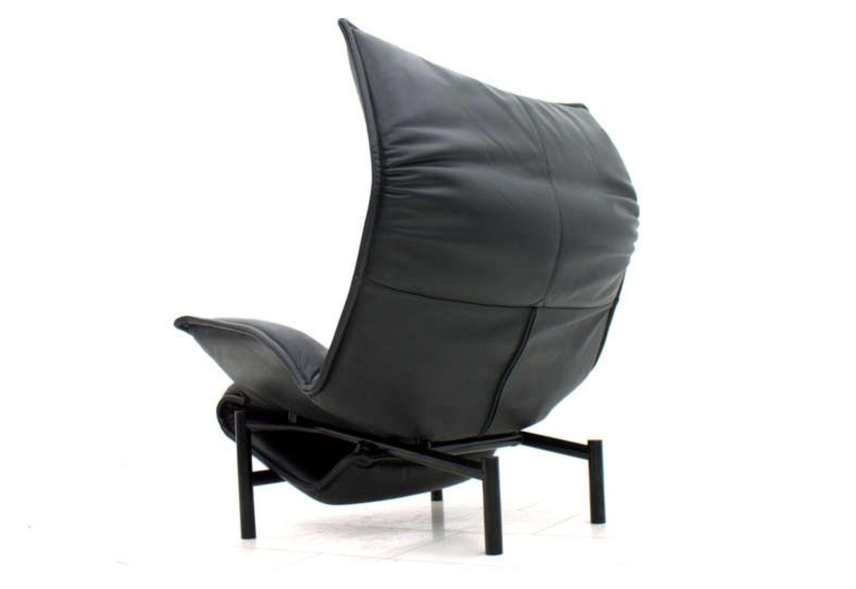 fauteuil veranda vintage en cuir par vico magistretti pour cassina italie 1985 en vente sur pamono. Black Bedroom Furniture Sets. Home Design Ideas