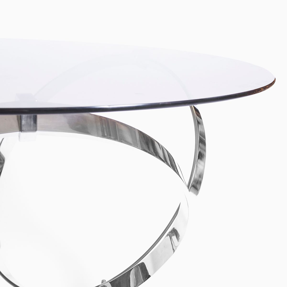 vintage chrome and glass coffee tableknut hesterberg for sale
