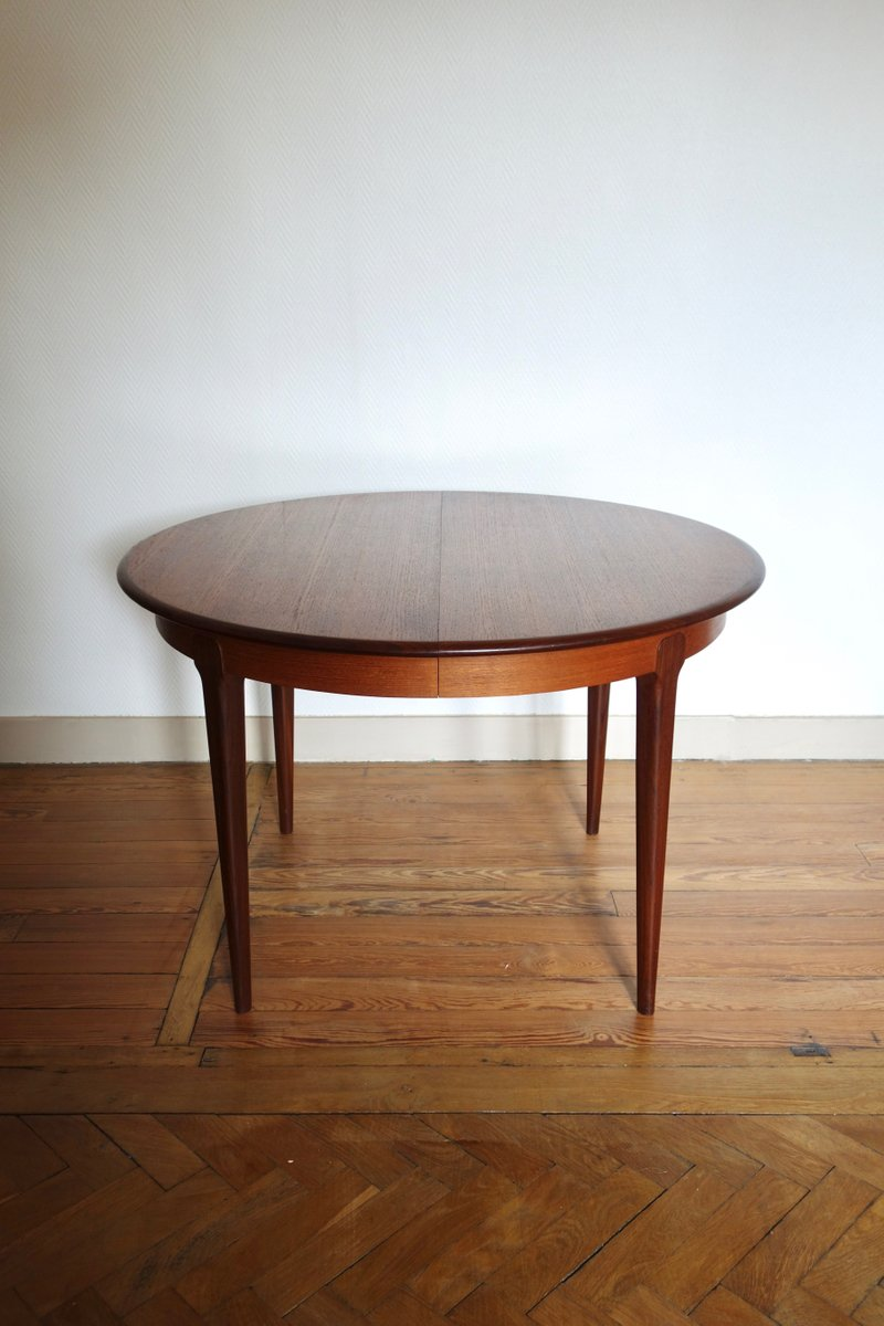 Round french extendable teak dining table 1960s for sale for Round extendable dining table