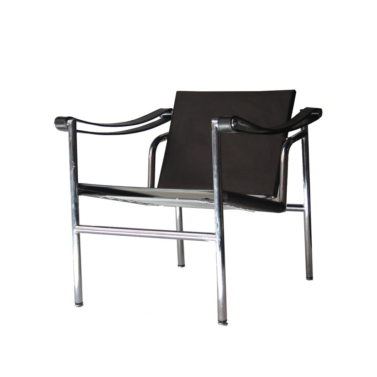 italienischer armlehnstuhl aus leder rohrstahl 1980er. Black Bedroom Furniture Sets. Home Design Ideas